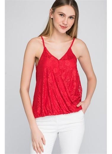 Cottonmood 8094284 Önü Dantelli Kruvaze Askılı Bluz Kirmizi Kırmızı